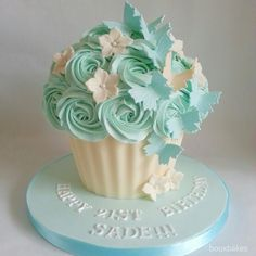 Butterflies and flowers teal and cream giant cupcake