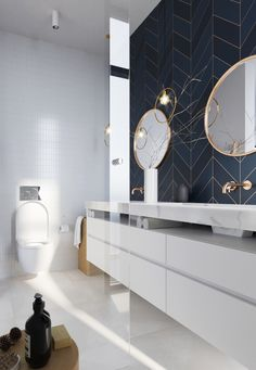 Glamorous and exciting luxury bathroom interior decor needs the perfect lighting. - Glamorous and exciting luxury bathroom interior decor needs the perfect lighting fixture. See our e - Bad Inspiration, Bathroom Design Inspiration, Bathroom Interior Design, Interior Decorating, Design Ideas, Design Trends, Decorating Ideas, Decorating Bathrooms, Gold Interior