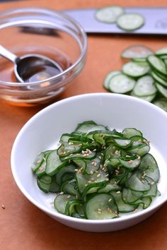 Sunomono salad - a crunchy, light Japanese cucumber salad.  See the recipe here: http://www.hungryhuy.com/sunomono-japanese-cucumber-salad-recipe/