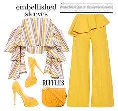 """""""Embellished Sleeves and Ruffles"""" by conch-lady ❤ liked on Polyvore featuring Caroline Constas, Rosie Assoulin, Christian Louboutin, See by Chloé, MustardYellow, ruffles and embellishedsleeves"""