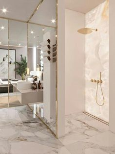 35 Ideas Bath Room Luxury Marble Mirror For 2019 Home Room Design, Dream Home Design, Home Interior Design, House Design, Luxury Home Designs, Marble Interior, Gold Interior, Interior Styling, Dream House Interior