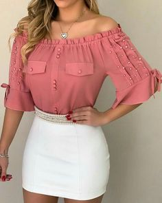 Off Shoulder Beaded Frill Hem Blouse Women Fashion Summer Outfits Trendy Outfits Outfit Ideas Sexy Blouse Styles, Blouse Designs, Blouse Patterns, Trend Fashion, Womens Fashion, Latest Fashion, Fashion Online, Shoulder Off, Pattern Fashion