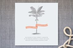 Palm Wedding Invitations - cute or save the date? Can customize the color- minted.com