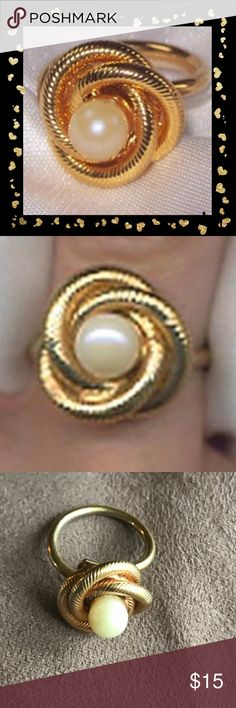 """Sarah COV """"LOVER'S KNOT"""" ring Product Description Adjustable  RING - SARAH COVENTRY. """"LOVER'S KNOT"""" FROM 1969. RIBBED GOLDTONE KNOT WITH A FAUX PEARL CENTER. ADJUSTABLE. RING TOP IS 5/8"""" IN DIAMETER. VERY GOOD CONDITION. Sarah Coventry Jewelry Rings"""