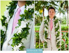 I would be open to the idea of Frankie wearing a lei, but I would leave the decision up to him. So tropical :)
