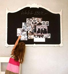 Magnetic Chalkboard in Vintage Frame #http://www.apartmenttherapy.com/how-to-make-a-magnetic-chalkbo-75911