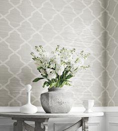 Interior design trend, Trellis geometric wallpaper | Carolyn Trellis Wallpaper by Thibaut | Jane Clayton