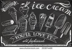 Hand-Drawn ice cream on chalkboard, could be a great idea for the menu board on the centre server....