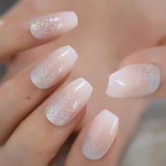 Holographic Silver Glitter Acrylic Nails Ombre French Fake Nails Coffin Shape Nude Nail Art Tips Application: FingerNail Length: MediumModel Number: Glitter nailsType: Full Nail TipsNail Width: MediumSize: Fake nailsMaterial: ABSQuantity: 24 nails Bride Nails, Prom Nails, Nail Art Hacks, Glue On Nails, Gel Nails, Coffin Nails, Nail Polish, Nagel Hacks, Silver Nails