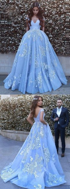 dreamy baby blue ball gowns with appliques, fashion formal prom evening dresses.