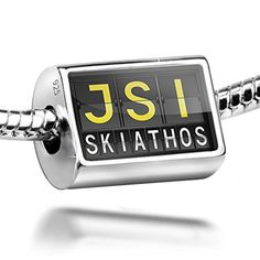 Sterling Silver Charm JSI Airport Code for Skiathos  Bead Fit All European Bra ** Check this awesome product by going to the link at the image.