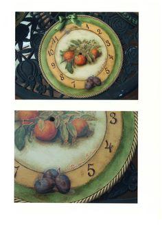 Orologio a decoupage pittorico
