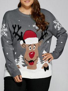 de0cd242b67b Plus Size Snowflake Elk Christmas Sweater Plus Size Christmas Sweaters