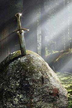 The sword in the stone. Contrary to common belief, this sword was not actually Excalibur. King Arthur recieved Excalibur from The Lady of the Lake later on after the sword in the stone had actually broken.