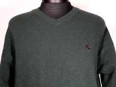 Authentic Burberry London Sweater Size Large V-neck 100% Merino Wool Long Sleeve
