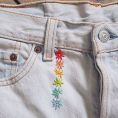 Little rainbow daisies embroidery embroidered rainbow embroideredjeans embr… – daisi… Embroidery On Clothes, Shirt Embroidery, Embroidered Clothes, Vintage Embroidery, Embroidery Stitches, Embroidery Patterns, Diy Embroidered Jeans, Machine Embroidery, Diy Jean Embroidery