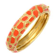 Cartier Coral Enamel Gold Bangle