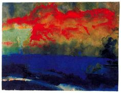 Blue Sea y nubes rojas de Emil Nolde Denmark) Emil Nolde, Seascape Paintings, Landscape Paintings, Oil Paintings, Azul Anil, Degenerate Art, Red Cloud, Art Graphique, Watercolor And Ink
