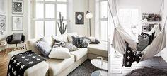 Zwart wit interieur woonkamer met Cross deken Pia Wallen - Makeithome.nl