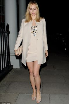 Legally Blonde: Meanwhile, Suki stuck to pink for the evening in a dusky hue of the colour for both her dress and coat