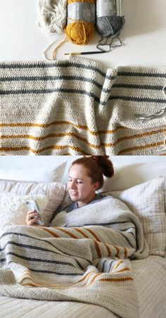 Free Pattern - Crochet Herringbone Half Throw