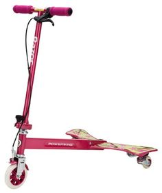 Easy to ride and fun to cruise in, the Razor PowerWing Caster Scooter (Sweet Pea) with its pink colour is ideal for little girls. The scooter has a 125mm polyurethane wheel on the front with hand brake and is capable of performing wonderful tricks with a twist of the feet.