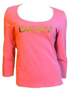 DKNY JEANS Women Logo Gold Faux Leather Orange PullOver Top 3/4Slv XL Shirt T123 #DKNYjEANS #EmbellishedTee