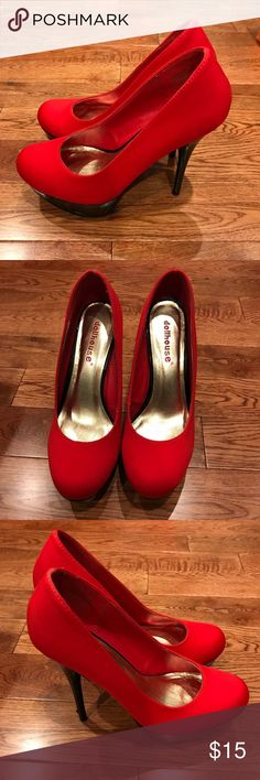 Red and Black Heels Worn once. Good condition. Damages are as shown. Works for any event. Willing to work with offers. Xx Dollhouse Shoes Heels