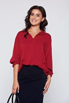 Bluza dama visinie eleganta din material vaporos cu croi larg - http://hainesic.ro/bluze/bluza-dama-visinie-eleganta-din-material-vaporos-cu-croi-larg-d56857b1b-starshinersro/