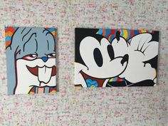 Bugs bunny plus Mickey and Minnie both pieces are hand designed and painted in the uk by me Luke My insta your_local_cult painting canvases cartoon DDDRRRUUUGGGZZZZ Sharpie Drawings, Trippy Drawings, Abstract Drawings, Art Drawings, Hippie Drawing, Hippie Art, Small Canvas Art, Mini Canvas Art, Bunny Painting
