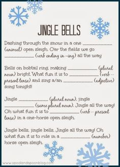 We did these at my grader's winter party and then the students' sang their creation. Five PRINTABLE Christmas Carol Mad Libs (Jingle Bells, Rudolph, Deck the Halls, Jolly Old St. Nick, and Frosty) by Spool and Spoon for Sumo's Sweet Stuff