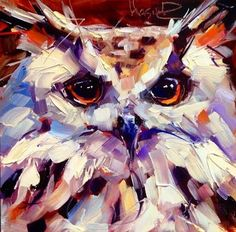 CONTEMPORARY OWL PAINTING in OILS by OLGA WAGNER - Original Fine Art for Sale…