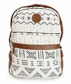 Billabong Campin Trot Black & White Tribal Print Backpack