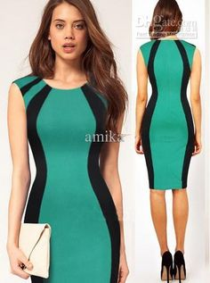 Wholesale Work Dresses - Buy 2013 New Fashion Womens Knee Length Optical Illusion Slimming Stretch Cocktail Pinup Summer Sexy Sleeveless Bodycon Business Pencil Dresses, $18.6   DHgate