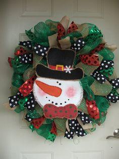 Burlap Snowman Christmas Mesh Wreath with Polka Dot Ribbon by TowerDoorDecor, $70.00