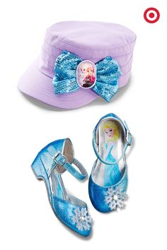 Gifts for the girl who's loves Frozen from head-to-toe, a sequined military-style bow hat and snowflake ankle-strap shoes. They have just that right amount of glitz for the holidays.