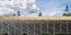 Mork-Ulnes constructs raised Skigard Hytte using detached log cladding Lillehammer, Wooden Columns, Wooden Steps, Cabana, Wooden Hut, Cladding Materials, Tree Logs, Exterior Cladding, Construction