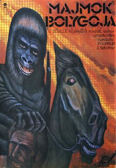 A majmok bolygója (1968) Planet of the Apes Hungarian vintage movie poster. Artist by Molnár Kálmán 1981.
