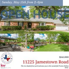 Please join us on Sunday, May 15th 2-4pm to tour this wonderful tree shaded home in Preston Hollow. #openhouse #dallasrealestate