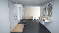 Conceito Spring Espelho, lavatório, base de duche e resguardo de banho.  Concept Spring. Mirror, washbasin, shower tray and shower enclosure.   #biselarte #spring