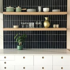 Laying style of the black tiles for the splash back. Grout will match the tile. Blue Kitchen Tiles, Kitchen Splashback Tiles, Black Backsplash, New Kitchen, Kitchen Reno, Black Tile Bathrooms, Navy Blue Bathrooms, Fireclay Tile, Black Tiles