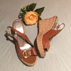 Jessica Simpson sandals Brown edges/ gold buckles/leather upper/ size 8 Jessica Simpson Shoes Sandals