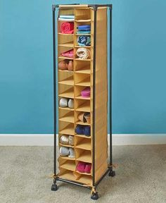 the fashionable rolling shoe storage unit neatly organizes your footwear each pair fits in its own cubby and is easy to find