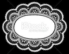 Lace Doily Doodles Ornate Flower Frame Royalty Free Stock Vector Art Illustration