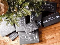 christmas chalkboard packaging from #goinghometoroost - i would probably just use recycled newspaper and some black acrylic paint to save money and paper!
