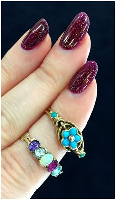 Two beautiful antique rings from Prather Beeland. A Georgian acrostoc ADORE ring, and a Victorian turquoise forget me not.