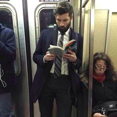 Dapper Dude Alert! Damn. Whatever prose he's reading cannot match the beauty of that full beard. He's like the hot English professor of my dreams, only with way better hair. #voluntarydetention #hotdudesreading - this ones for @lancebass