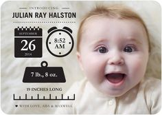 #Baby Info - Boy Photo Birth Announcements - Magnolia Press #infographic