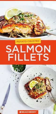 This healthy dinner recipe for Potato-Crusted Salmon Fillets can be made in 30 minutes. Best Salmon Recipe, Grilled Salmon Recipes, Easy Salmon Recipes, Fish Recipes, Cheap Recipes, Seafood Recipes, Healthy Meals To Cook, Healthy Dinner Recipes, Healthy Eating