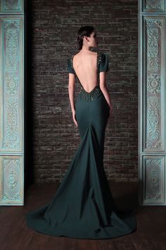 Hand Embroidered Jersey Couture Dress